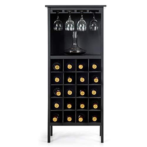 Goplus Cantinetta Scaffale Portabottiglie di Vino con Porta Calici per 28 Bottiglie e 12 Calici, in Legno di Pino Resistente all'umidità,96x25x42cm (Nero)