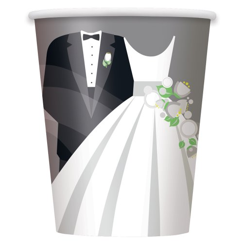 9oz Silver Wedding Paper Cups, 8ct