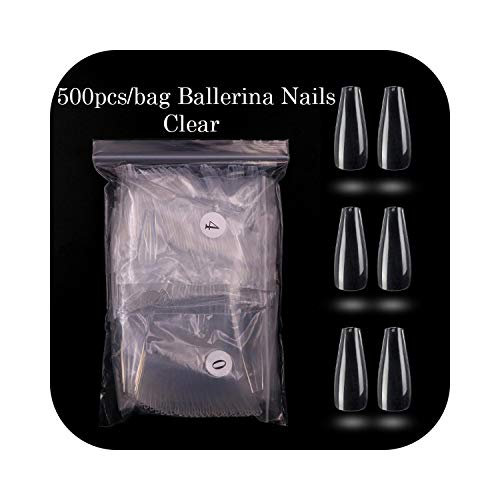Ongles carrés courts 500pcs / opp Ballerina Nail Art Tips Appuyez sur la forme longue Professional False Nails Full Cover Acrylic Tip 10Sizes-clear-500pcs-,