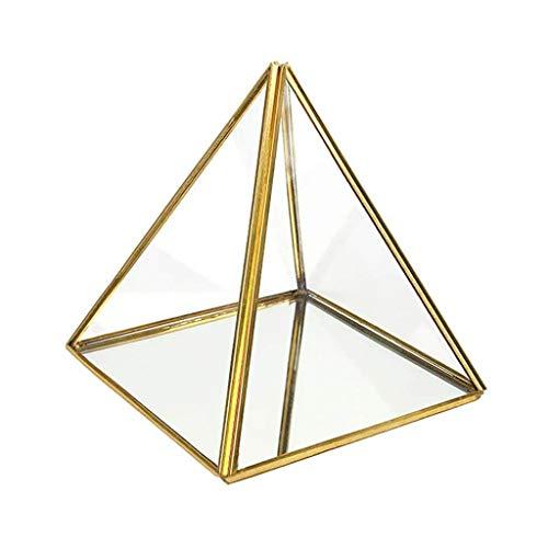 HANMAX Caja de Almacenamiento con Forma de pirámide de Vidrio para terrario, Caja Transparente facetada, Recipiente de exhibición de Recuerdos (Oro Negro) (sin Plantas) Exquisita