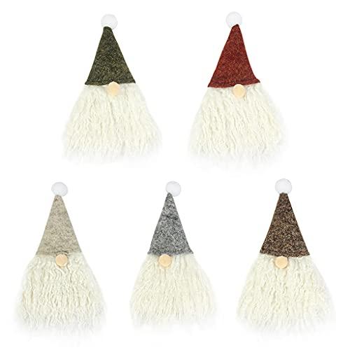 DONTHINKSO 5 piezas de Navidad Gnomo botella de vino cubiertas hechas a mano Tomte Swedish Gnomo botella de vino Toppers Holiday comedor mesa decoración fiesta regalo