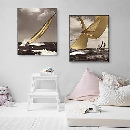 SYLSBAZGYS Moderne Seestück Poster und Drucke Wandkunst Gemälde auf Leinwand Wanddekoration Segelbilder für Wohnzimmer Dekor No Frame-50x70cmX2