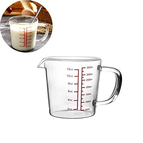 Generic Brands Glass Measuring Cup, Borosilicate Glass Measuring Cup with Spout, Clear Multi Measurement Tool for Baking, Cooking, Sugar, Flour, ML OZ,350ml