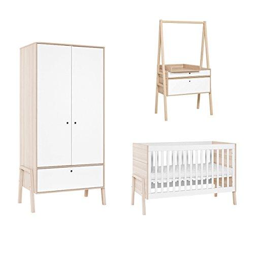 Chambre complète lit bébé 60x120 - commode évolutive - armoire 2 portes Spot - Blanc