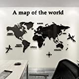 3D Acrílico DIY Mapa del Mundo Mundi De la Pared Murales Etiquetas Etiqueta Sala Salón Oficina Fondo Pegatinas Creativa Decoración Decor De la Pared Murales Mapa del Mundo Mundi 230*120