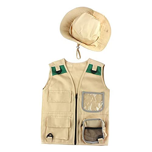 F Fityle 2xcargo Chaleco Y Sombrero Sisting Senderismo Explorer Al Aire Libre Conjunto para 4-6 aos de Edad Unisex