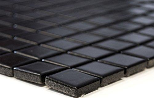Mozaïeknetwerk mozaïektegelsector vierkant uni zwart mat keramiek mozaïek muur tegelspiegel douchebak 60 x 100 mm /1 Handmuster ca. 6x10 cm
