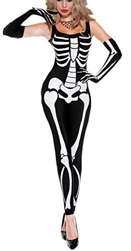 aimerfeel Halloween Frauen Scary Skelettes Druck Overall gespenstische Kostüm alle in einem size36-40