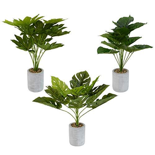 INtrenDU 3X künstliche Dekopflanze im Set Kunstpflanzen im Topf ca. 52cm Kunstblumen Fensterdeko künstliche Pflanze