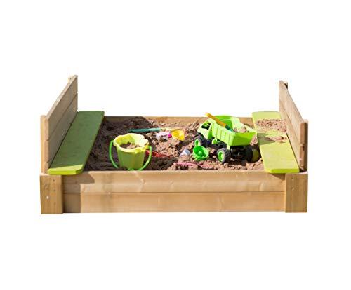 WENDI TOYS - Cubo de arena con bancos y tapa, para niños, 120 x 120 cm, con bancos de color verde