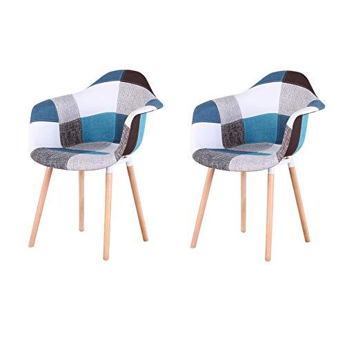 GrandCA Home Pack de 2 sillas,sillas de Comedor Patchwork Tela de Lino Butaca, Silla de salón, sillas de recepción, Silla de Cocina (Azul-A5)