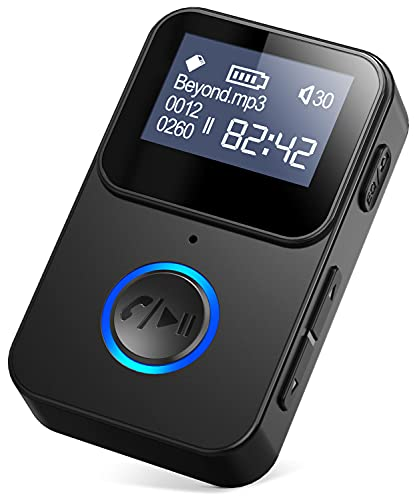 Mp3 Player with Bluetooth - Tensun Portable Music Player for Running Walking, Mini Digital Lossless Mp3 Mp4 Player with Long Battery Life, Support TF Card Hands-Free Call Aux Bluetooth 5.0 Car Adapter