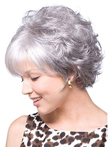 Menoqi Gray Wigs for Women Short Silver Gray Ladies Hair Wig for White Women with Wig Cap WIG022