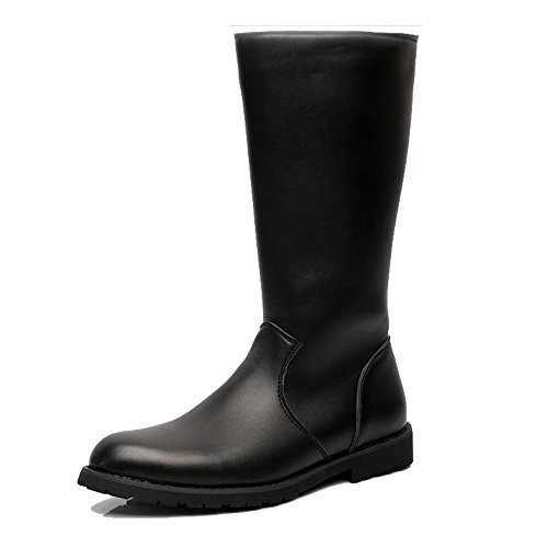 Casual Suede Shoe Herrenschuhe Glattleder Oberseitenreißverschluss Mid Calf Combat Boots für Herren Herren Sneaker (Color : Schwarz, Größe : 8 UK)