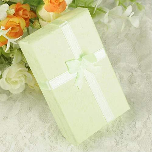1 caja de almacenamiento de joyería negra para anillos, caja de regalo, caja de regalo, caja de papel, caja de joyería, embalaje, pulsera y pendientes con esponja, 8 x 5 x 2,5 cm, color verde