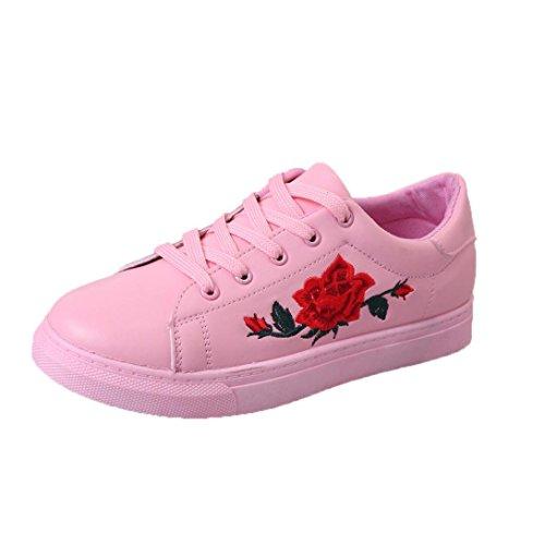 Btruely Sneakers Damen Winter Herbst Schuhe Mode Mädchen Riemen Sportschuhe Stickerei Blumen Schuhe (40, Rosa)