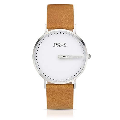 Pole Watches Orologio da Polso Analogico Monolancetta di Quarzo da Uomo Quadrante Bianco e Cinturino di Cuoio Mostarda Modelo Classic Royale C-1001BL-MA02