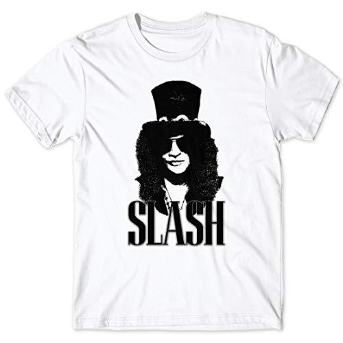 LaMAGLIERIA T-Shirt Uomo Slash Rock Band Icon - Maglietta Hard Rock Band Guns N' Roses 100% Cotone, Bianco