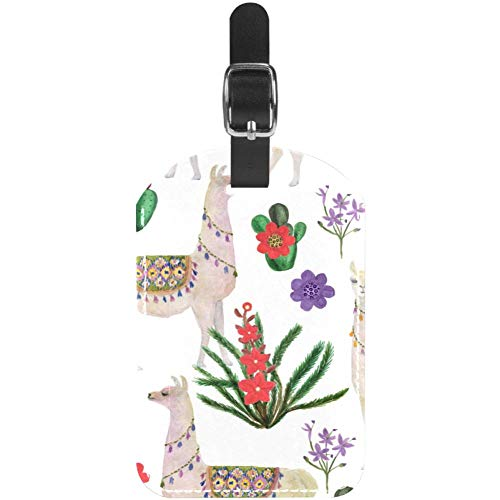 Luggage Tags Llama and Cactus Leather Travel Suitcase Labels 1 Packs