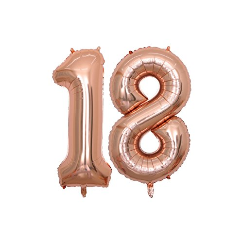 BALONAR 40 inch Jumbo 18th Rose Gold Foil Balloons for Birthday Party Supplies,Anniversary Events Decorations and Graduation Decorations (ROSE18)