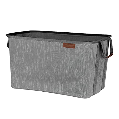 CleverMade Collapsible Fabric Laundry Basket LUXE - Foldable Pop Up Storage Organizer - Space Saving Hamper with Carry Handles, Grey, One Size