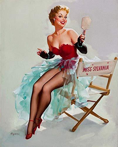 JH Lacrocon Leinwand Kunstdruck Pin-Up-Mädchen Bild Deko 40X50cm Poster Sylvania Kalender 1955 Von Gil Elvgren Foto Vintage