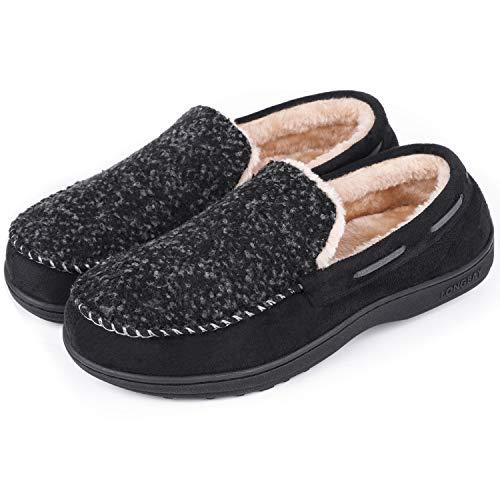LongBay Men's Wool Moccasin Slippers Micro Suede House Shoes Comfort Memory Foam Indoor Outdoor(11 B(M) US, Black)