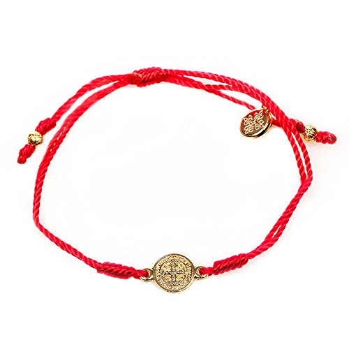 My Saint My Hero Inspirational Breathe Bracelet, Adjustable (Gold Plated Medal on Red)