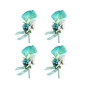 MOJUN Groom Groomsman Calla Lily Boutonniere Buttonholes Corsage Calla Lily Flowers Brooch for Wedding Prom Party, Pack of 4, Turquoise