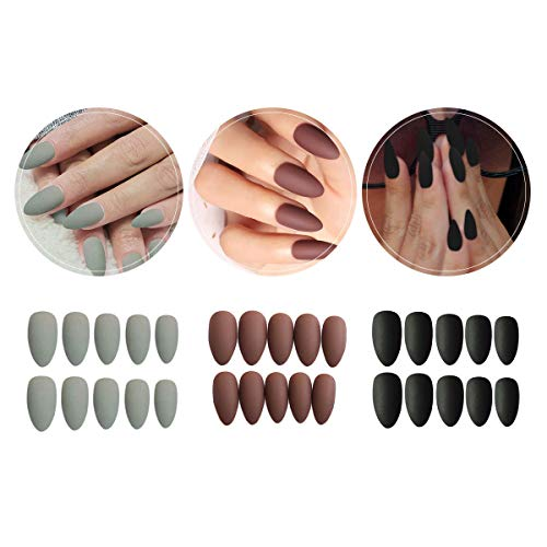 3 Boxes (72 Pcs) Matte Coffin Press on Nails - Acrylic Medium Length False Nails Set Artificial Acrylic Nails Resin Fake Fashion Nail Art Design Manicure Set