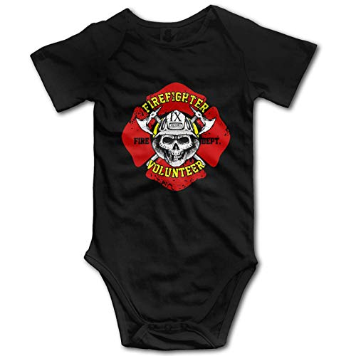 Promini Enterizo de algodón de manga corta para bebé, cuerpo de bomberos con cara de calavera, 12-18 meses, ZI10758