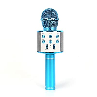 MorNon Wireless Bluetooth Karaoke Microphone Speaker Handheld KTV Player Microphone Party 4 in 1 Handheld Bluetooth Microphone Speaker Karaoke Machine Blue