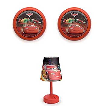 "PHILIPS Disney Cars LED Night Light  2 Pack  & Cars 10"" Kids Table Lamp w/Shade"