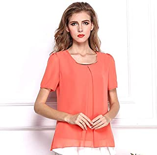 Y&D round neck solid pattern chiffon material short sleeve blouse for women orange color
