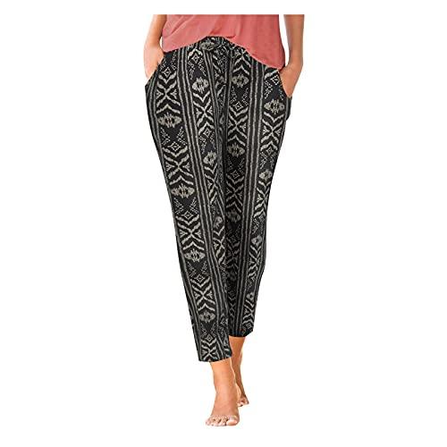 MITCOWBOYS Mujer Pantalón de Mujer Estampado Cintura Alta Casual Fluidos con Bolsillos de Playa Bohemio Hippie Yoga Harem de Largos Pantalones
