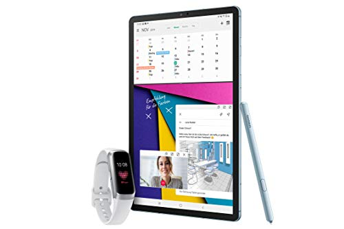 Samsung Galaxy Tab S6 T860 (10.5 Zoll) Wi-Fi, Cloud Blue + Samsung Galaxy Fit, Fitnesstracker, Silber, mit Bluetooth, Farbdisplay, Pulsmesser und Schlafanalyse