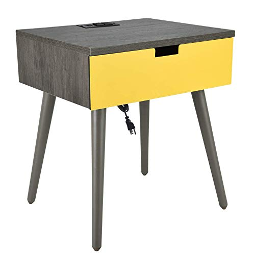 Frylr Nightstand Bedside Table with Charging Socket and USB Charging Plug, PU Leather Drawer End Table for Living Room Bedroom 18.8''x15.7''x21.5''-Grey and Yellow