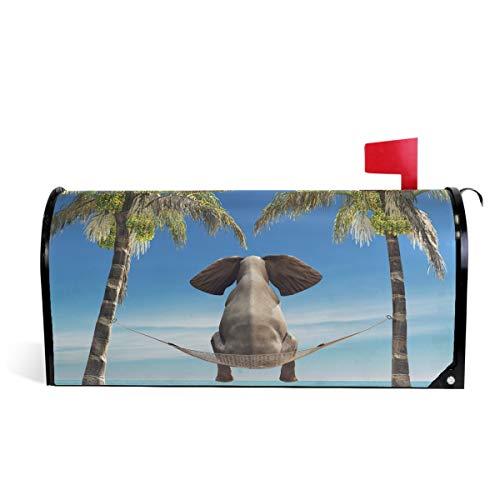 """Oarencol Lustiger Elefant Ozean Strand Palme Meer Briefkasten Abdeckung magnetisch Garten Hof Home Decor Standard Größe 53,3 x 45,7 cm 18\"""" X 21\"""" multi"""