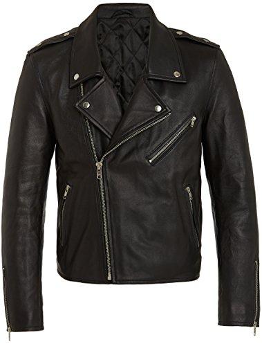 RADDAR7 Mens Designer Urban Rock Style Black in Pelle Biker Pumino Genuine Pelle - Metal Hardware - Collar Detail And Asymmetric Zip sotto Le Braccia