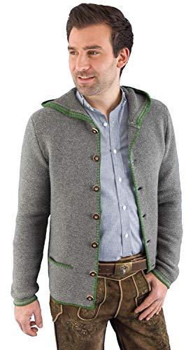Hammerschmid Trachtenjacke Herren Strickjacke Julius 88110 Wolle grau Janker mit Kapuze 50