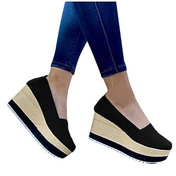 Aniywn Women s High Platform Wedge Heels Shoes Closed Round Toe Wedge Pumps Slip On Comfort Working Dress Office Shoes Black
