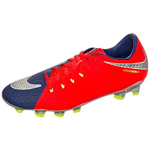 Nike Hypervenom Phelon Iii Fg, Men's Football Boots, Multicolour (Deep Royal Blue/Total Crimson/Bright Citrus/Chrome), 6 UK (39 EU)