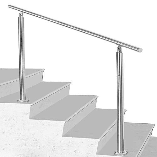 Hengda Pasamanos escalera acero inox 150 * 4.2 * 106.5cm,0 barras,barandilla con kit de instalación,para interiores y exteriores, escaleras, balcón, balaustrada