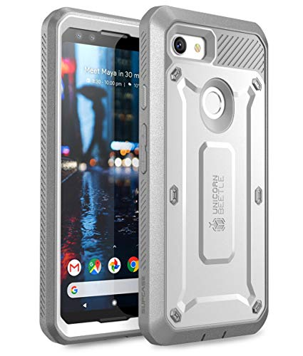 SUPCASE Unicorn Beetle Pro Series Case for Google Pixel 3, Full-Body Rugged Holster Case with Built-in Screen Protector for Google Pixel 3 2018 Release - Retail Package (White)