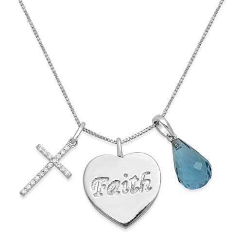 Jewelili Sterling Silver 12x8mm Briolette Blue Topaz with Dangling Heart and Cubic Zirconia Cross Charm Pendant Necklace, 18