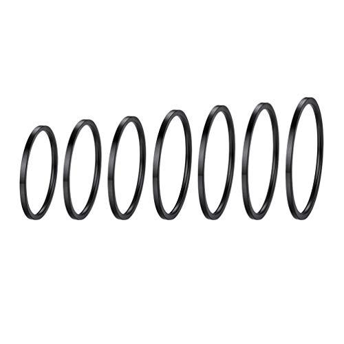PROSTEEL Anelli Donna Impilabili- 7 Pezzi Anelli per Nocche- Anelli Sottili Donna Tutte le Dita- Colore Nero, Misura 6-24 (con Confezione)
