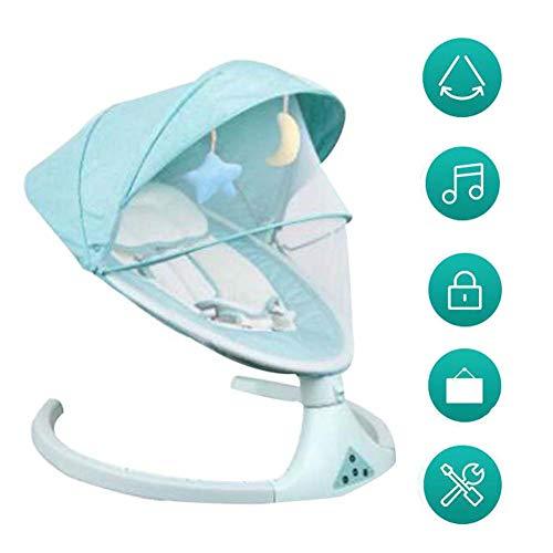 FCDWHJ Zusammenklappbare und tragbare Babyschaukel mit 5 Schaukelgeschwindigkeiten, per App bedienbar, mit Musik Lautstärkeregulierung und abnehmbarem Spielzeugbügel,Grün