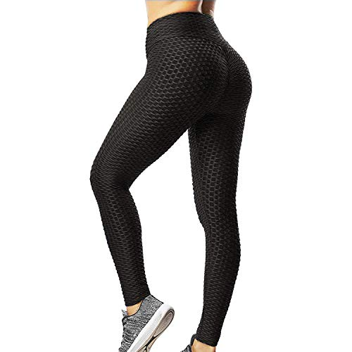 Yoga Pants for Women Fitness Butt Lifting Gym Running Compression Textured Leggings High Waist Tummy Control Slimmer Tights (Large) Black