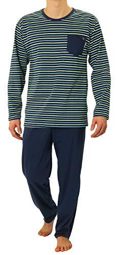 Sesto Senso Herren Schlafanzug Lang Pyjama 100{5d6b9c2bc756100deefef54a06dbc5458d2a25e2cfeb6d82ba00a00da5db273b} Baumwolle Langarm Shirt mit Tasche Pyjamahose Zweiteilig Set Nachtwäsche Blau Grün Gestreift Dunkelblau XXL 02 K76L