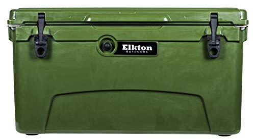 Elkton Outdoors 75qt Ice Chest - Heavy Duty, High Performance Roto-Molded Commercial Grade Insulated Cooler (Green)